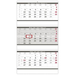 Nástěnný kalendář 2020 Tříměsíční skládaný šedý