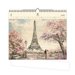 Nástěnný dřevěný kalendář 2020 - Eiffel Tower