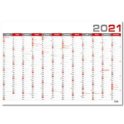 Nástěnný roční kalendář 2021 - červený