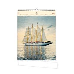 Nástěnný dřevěný kalendář 2021 - Sailing