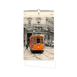 Nástěnný dřevěný kalendář 2021 - Tram
