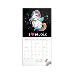 Nástěnný poznámkový kalendář 2021 Šťastní jednorožci s tetováním