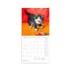 Nástěnný poznámkový kalendář 2021 Kočky na plátně