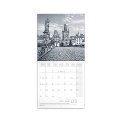 Nástěnný poznámkový kalendář 2021 Praha černobílá