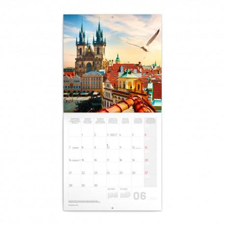 Nástěnný poznámkový kalendář 2021 Praha nostalgická