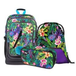 Školní set Cubic Tropical - batoh, penál a sáček