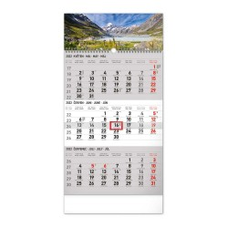 Nástěnný kalendář 2022 3měsíční Krajina - šedý CZ