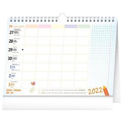 Nástěnný i stolní kalendář 2022 Školní plánovací s háčkem