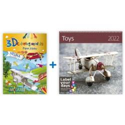 3D omalovánky - Letadlo + Nástěnný kalendář 2022 - Toys