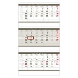 Nástěnný kalendář 2022 - Tříměsíční skládaný šedý