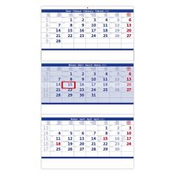 Nástěnný kalendář 2022 - Tříměsíční skládaný modrý