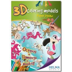 3D omalovánky - Chobotnice & Plameňák & Opice