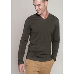 Pánské tričko dl.rukáv V-neck