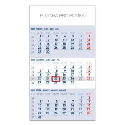 Nástěnný kalendář 2020 Standard 3 měsíční modrý - s českými jmény