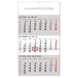 Nástěnný kalendář 2020 Standard 3 měsíční šedý - s českými jmény