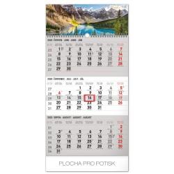 Nástěnný kalendář 2020 Krajina 3mesíční šedý - s českými jmény