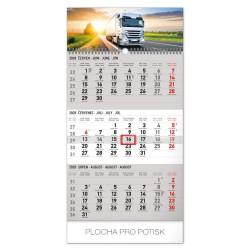 Nástěnný kalendář 2020 Truck 3mesíční šedý - s českými jmény