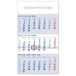 Nástěnný kalendář 2020 Štandard 3mesačný modrý - se slovenskými jmény