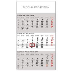 Nástěnný kalendář 2020 Štandard 3mesačný šedý - se slovenskými jmény
