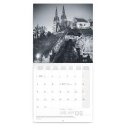 Nástěnný kalendář 2020 Praha - černobílá